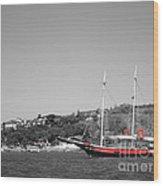 Boat At The Shore Wood Print
