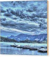 Boat Dock At Holter Lake Wood Print