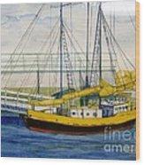 Boat Dock At Kenosha Wisconsin Harbor Wood Print