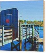 Boat Dock In Rhode Island Wood Print