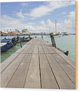 Boat Dock On Jetty In Penang Wood Print