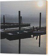 Boat Dock Sunrise 2 Wood Print