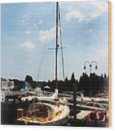 Boat - Docked Cabin Cruiser Wood Print