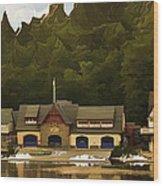 Boat House Row Wood Print