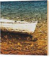 Boat In Dangerous Waters Wood Print