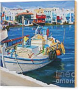 Boat In Greece Wood Print