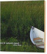 Boat In The Marsh Wood Print
