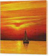 Boat In The Sunset Wood Print