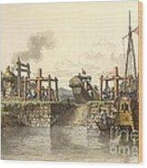 Boat Lock In China, 1800s Wood Print