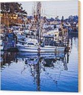 Boat Mast Reflection In Blue Ocean At Dock Morro Bay Marina Fine Art Photography Print Wood Print