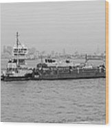 Boat Meet Barge In Black And White Wood Print