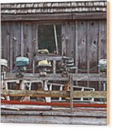 Boat Motors Going Nowhere Wood Print