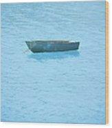 Boat On Blue Lake Wood Print