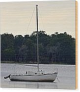 Boat On Calm Waters Wood Print