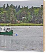 Boat On Cove In Glen Margaret-ns  Wood Print