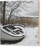 Boat On Iced  Lake In Denmark In Winter Wood Print