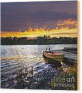 Boat On Lake At Sunset Wood Print