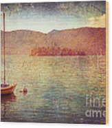Boat On Lake Maggiore Wood Print