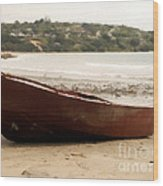 Boat On Shore 02 Wood Print