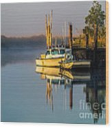 Boat On The Creek Wood Print