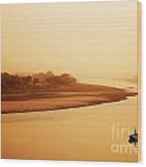 Boat On Yamuna River Wood Print