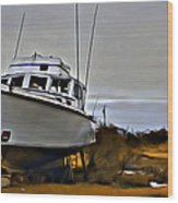 Boat Out Of Water Wood Print