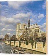 Boat Passing Notre Dame De Paris  Wood Print