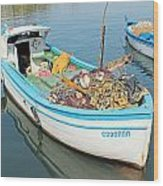 Boat Reflected In Sozopol Harbour Wood Print