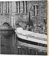 Boat Reflection In Bruges Wood Print