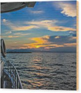 Boat Returning To Port As Dawn Breaks Wood Print