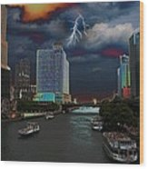Boat Ride On Chicago River Wood Print
