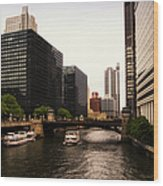 Boat Ride On The Chicago River Wood Print
