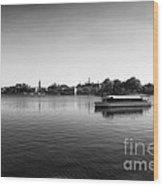 Boat Ride World Showcase Lagoon In Black And White Walt Disney World Wood Print
