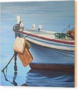 Boat Saida - Zaher Bizri Lebanes Artist - Art In Lebanon Wood Print