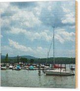 Boat - Sailboat At Dock Cold Springs Ny Wood Print