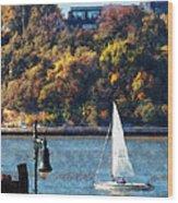Boat - Sailboat Near Chelsea Pier Wood Print