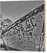 Boat - State Of Decay In Black And White Wood Print