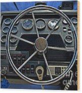 Boat Steering Wheel Wood Print