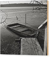 Boat In Ice - Lake Wingra - Madison - Wi Wood Print