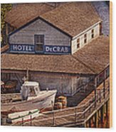 Boat - Tuckerton Seaport - Hotel Decrab  Wood Print by Mike Savad
