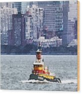 Boat - Tugboat By Manhattan Skyline Wood Print