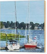 Boat - Two Docked Sailboats Norwalk Ct Wood Print