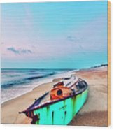 Boat Under Morning Moon Outer Banks I Wood Print