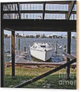 Boat View Under The Stairway Wood Print