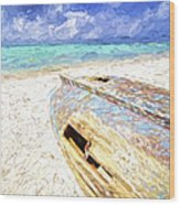 Boat Wreck Of Aruba Wood Print