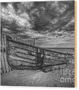 Boat Wreckage Bw Wood Print