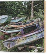 Boat Yard Wood Print by Heather Applegate