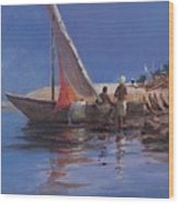 Boat Yard, Kilifi, 2012 Acrylic On Canvas Wood Print