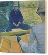 Boaters On The Yerres Wood Print