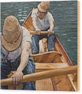 Boaters Rowing On The Yerres Wood Print
